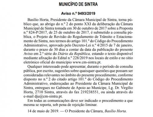 Últimos dias para participar no Regulamento de Trânsito e Estacionamento de Sintra