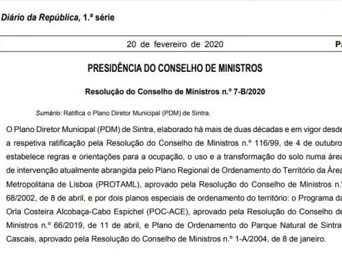Governo aprova parcialmente o PDM de Sintra