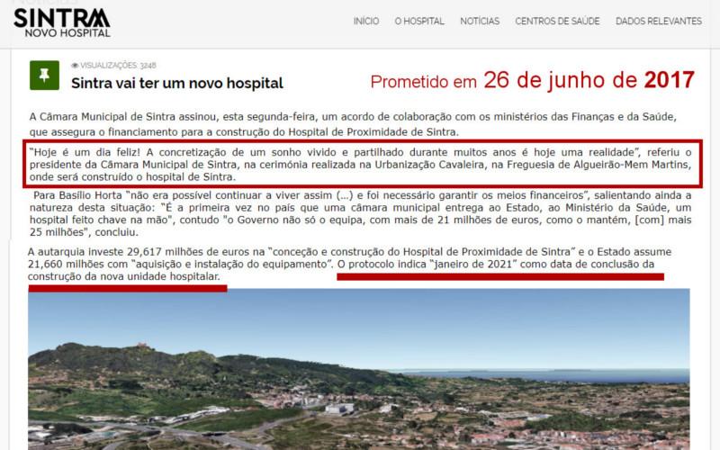 Anunciado para 2021, o novo hospital de Sintra ainda nem começou a ser construído