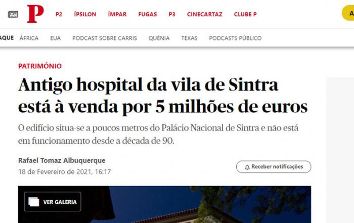 Público: Antigo hospital da vila de Sintra está à venda por 5 milhões de euros