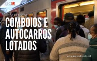 Comboios e autocarros lotados na hora de ponta em Sintra