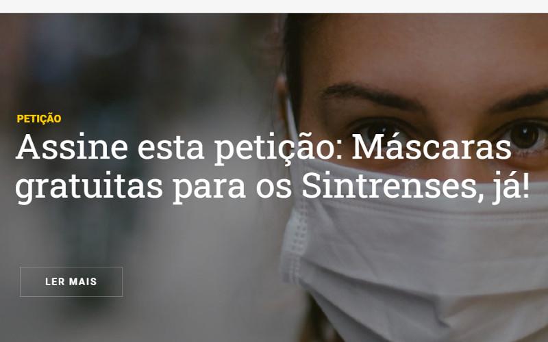 Petição pública – Máscaras gratuitas para os Sintrenses, já!