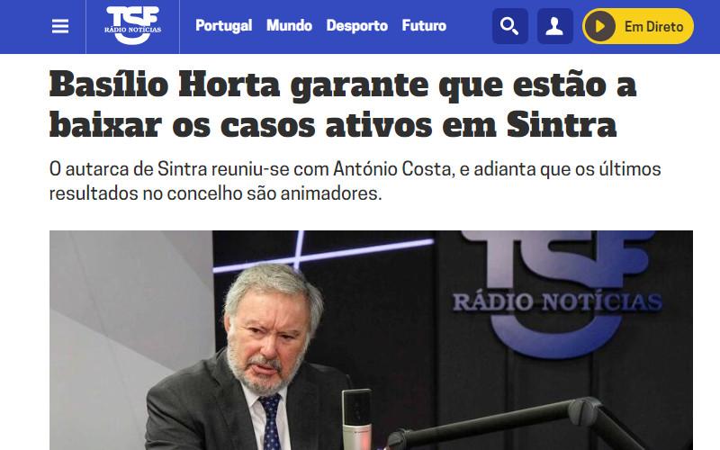 Porque é que Basílio Horta não divulga o número de novos infetados no concelho de Sintra?