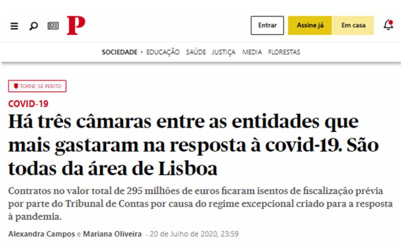 Municípios de Cascais, Oeiras e Lisboa entre as entidades que mais investiram na resposta à COVID-19