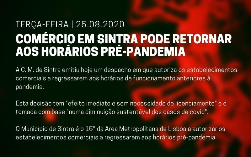 Comércio em Sintra pode retornar aos horários pré-pandemia