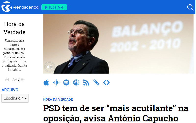 """António Capucho: PSD tem de ser """"mais acutilante"""" na oposição"""