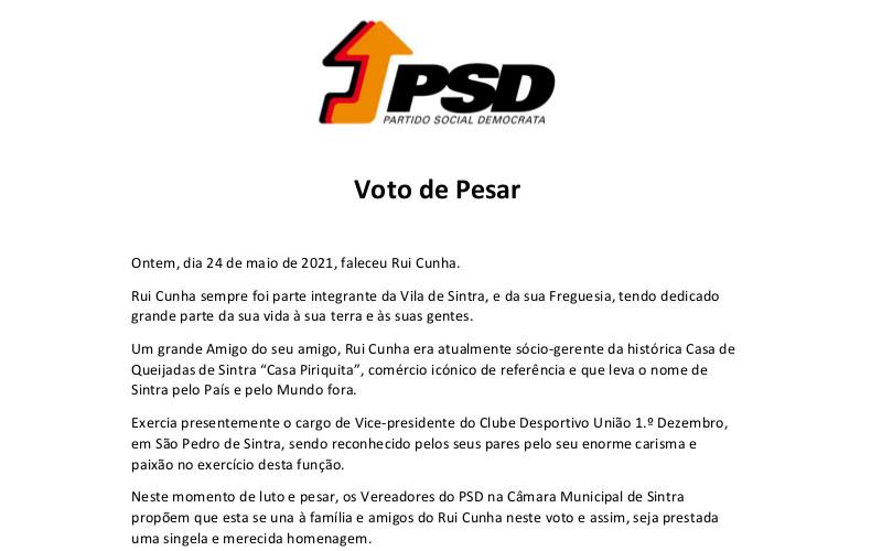 Propusemos um Voto de Pesar por Rui Cunha
